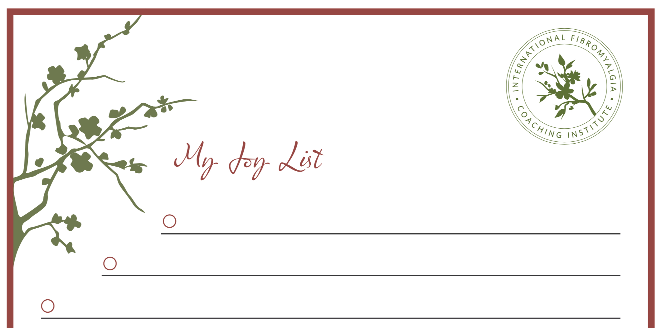 Joy List Worksheet, top of page 1